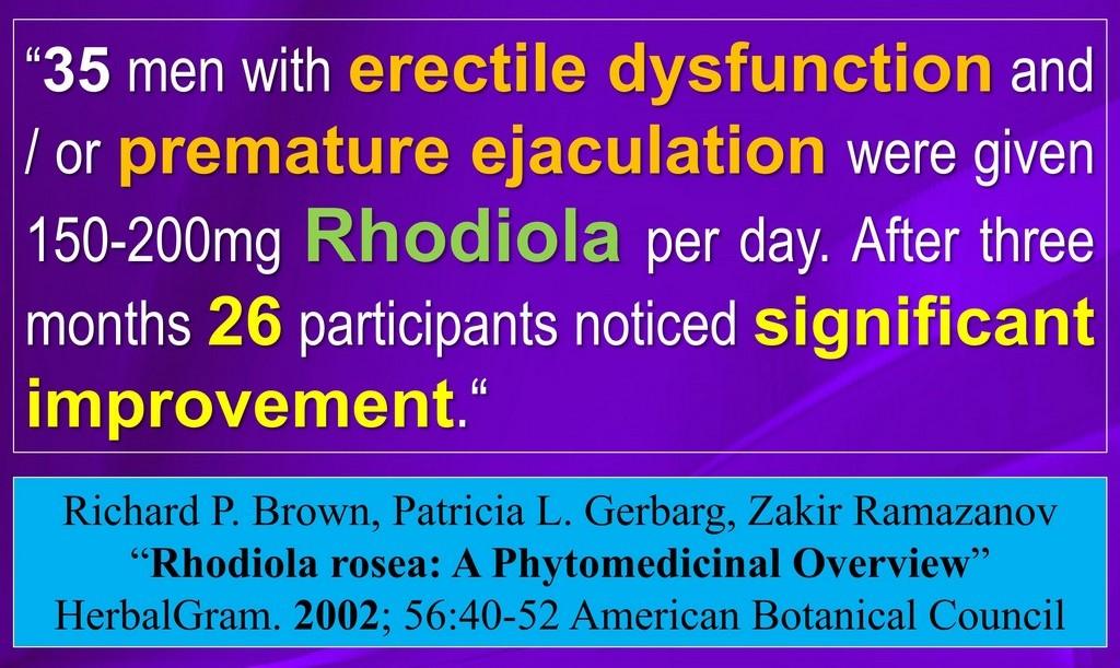 RHODIOLA CURES Erectile Disfunction  PROOF