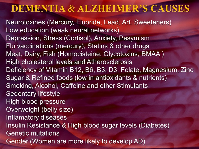 ALZHEIMER'S CAUSES LIST