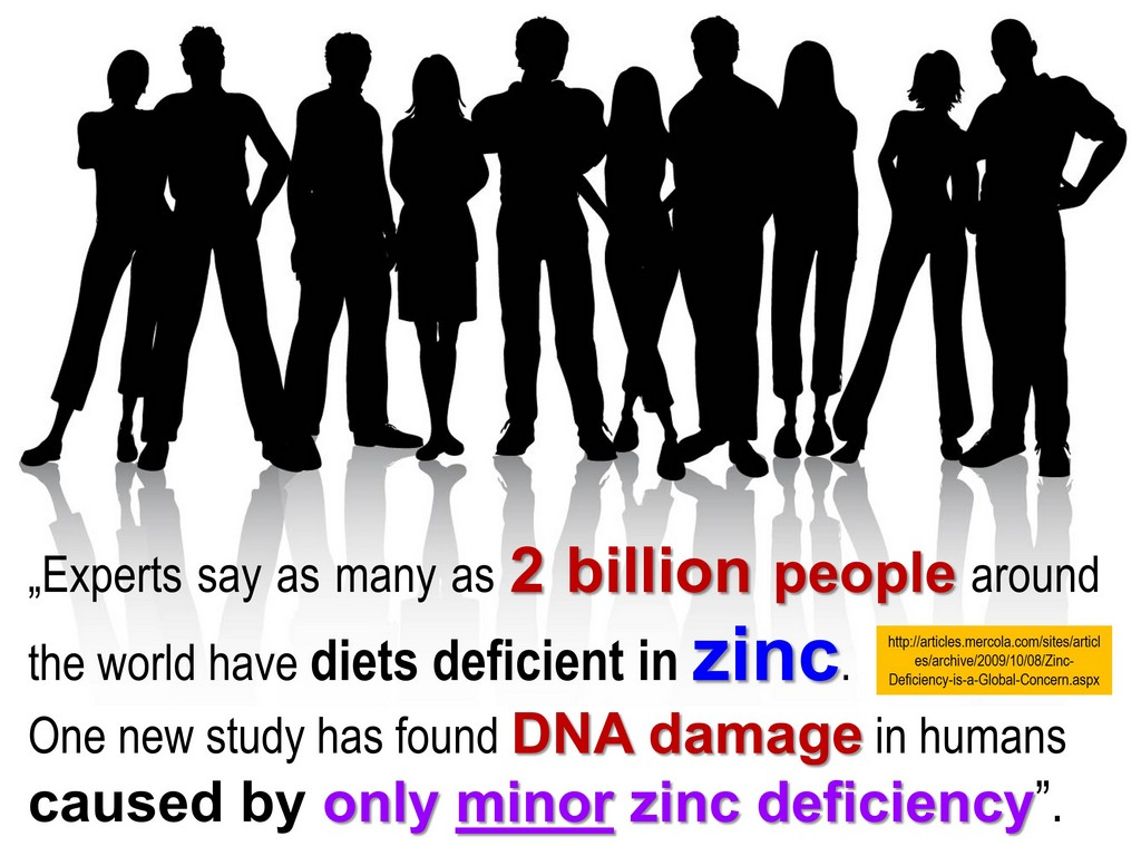 zinc deficiency 2 billion people dna damage