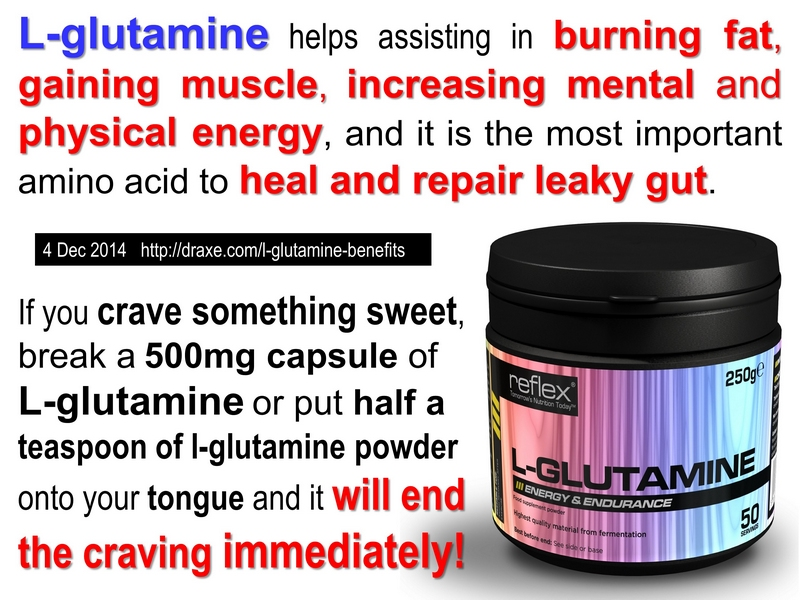 L-glutamine instant quencher for sugar cravings