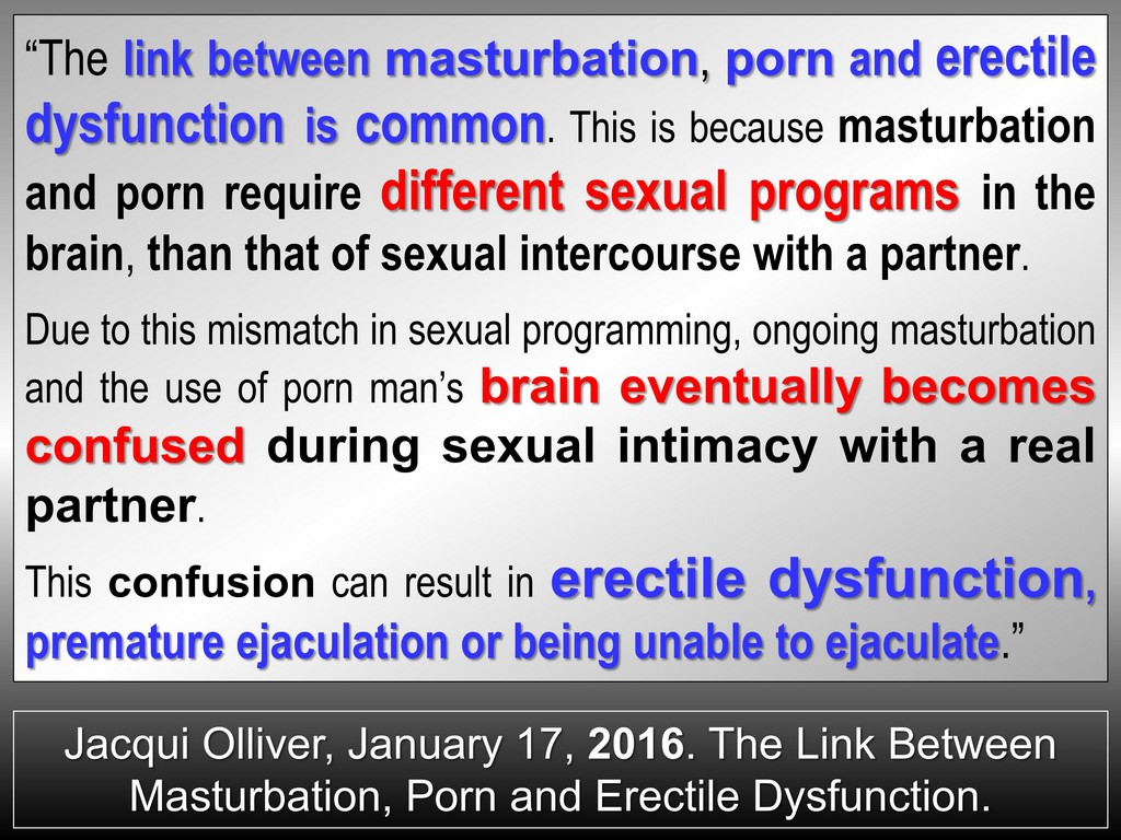 CHRONIC MASTURBATION LEADS TO ERECTILE DYSFUNCTION AND PREMATURE EJACULATION
