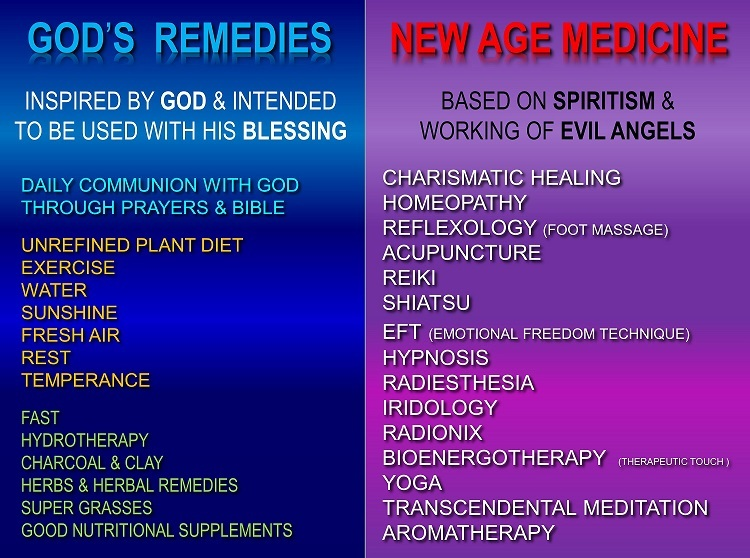 New Age medicine vs God's remedies - list