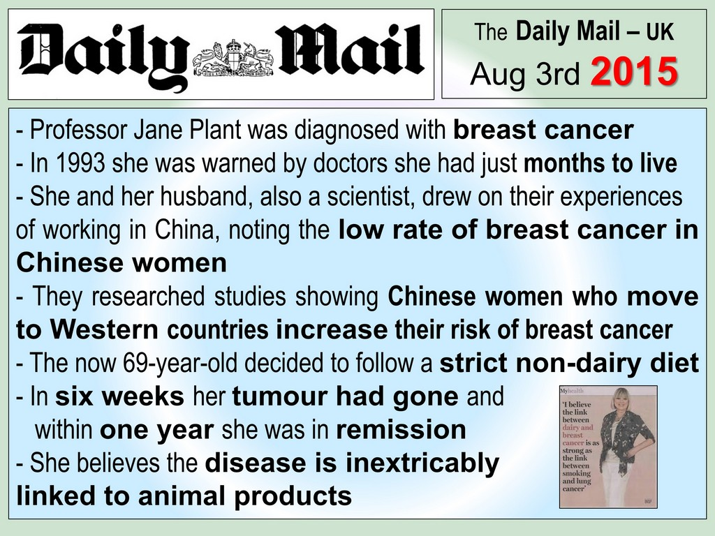 AVOID MILK AND DAIRY TO CURE BREAST CANCER - CHINA